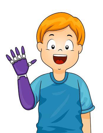 Kid Boy Waving His Prosthetic Arm