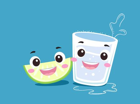 Tequila Drink In Shot Glass Mascot Smiling with a Slice of Lime or Lemon Stockfoto