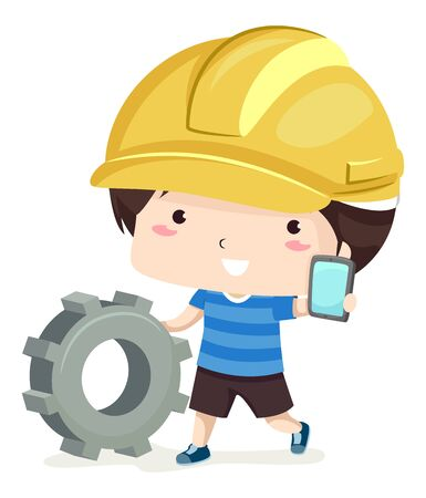 Kid Boy Wearing a Yellow Hard Hat, Pushing a Cog and Showing a Mobile Phone. Stock fotó