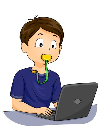 Kid Boy Typing on His Laptop with a Chew Toy on His Mouth