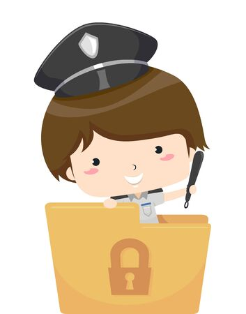 Kid Boy Wearing a Security Guard Uniform and Holding a Baton Standing From Inside a Folder with a Lock Print Stockfoto