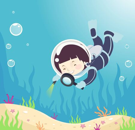 Kid Boy in Scuba Diving Suit Using a Magnifying Glass to Observe Underwater