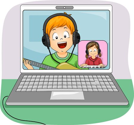 Kids Performing a Duet Through Video Chat, with Kid Boy Using a Guitar and Kid Girl Using Piano