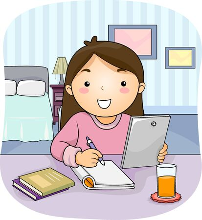 Kid Girl Using a Tablet Computer Writing on Her Notebook and Studying in Her Bedroom