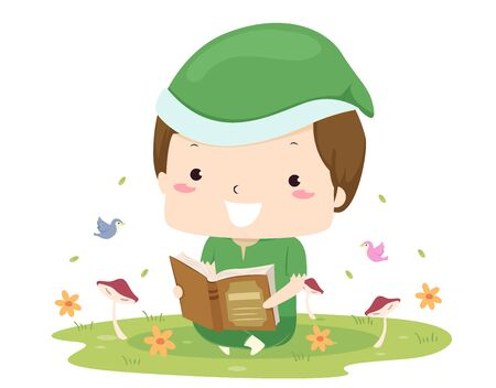 Kid Boy Elf Reading a Book Outdoors with Birds, Mushroom and Flowers