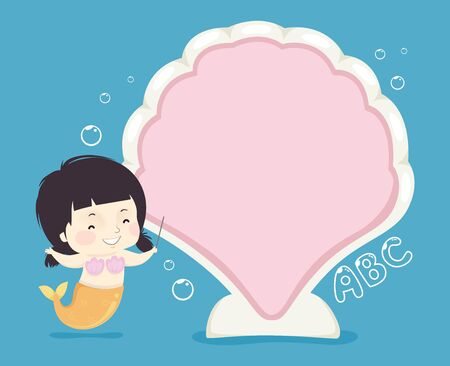 Kid Girl Mermaid Pointing to a Big Blank Clam Board Stockfoto - 129910521