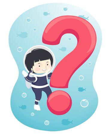 Kid Boy in Scuba Diving Suit Holding a Question Mark Banque d'images - 129910526