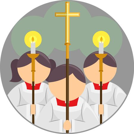 Altar Server Icon with a Kid Girl and Boy Holding Candles and Cross Stock Photo