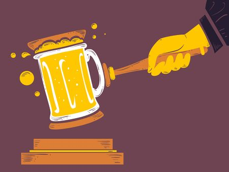 Beer Mug as a Gavel Used by a Judge. Law About Alcohol or Drinking