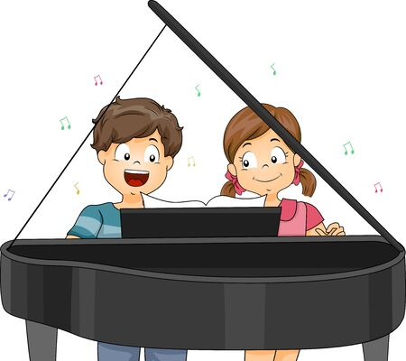 Kids Playing a Piano Piece Together and Singing a Song