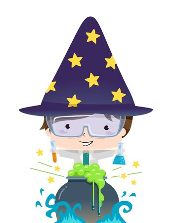 Kid Boy Wearing Wizard Hat, Holding Test Tube and Flask and Cooking Some Potion