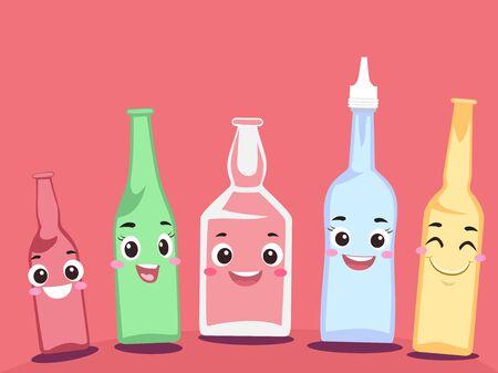 Alcohol Bottle Drinks Mascot Smiling