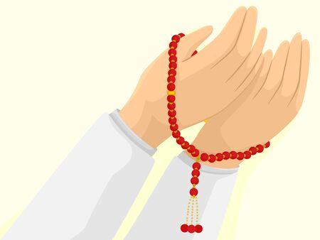 Hands Holding a Muslim Misbaha Prayer Beads 写真素材