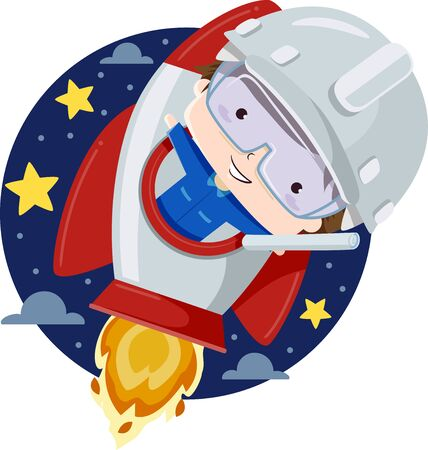 Kid Boy Wearing a White Hard Hat and Looking Out from a Rocket Ship in Outer Space