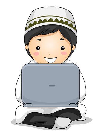 Kid Boy Muslim Using a Laptop