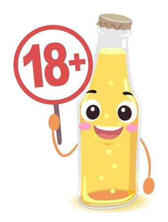 Bottle of Beer Mascot Holding a Signage with Eighteen Plus Text Inside