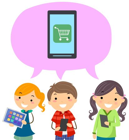 Kids Holding Mobile Phones with Speech Bubble Talking About Purchasing Using Phone