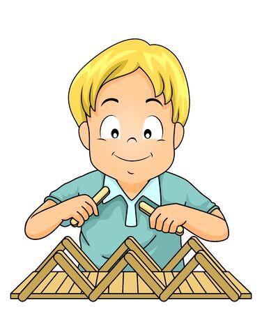 Kid Boy Building a Bridge Using  Sticks Stockfoto