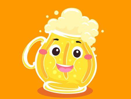 Fat Beer Mug Mascot Full of Beer