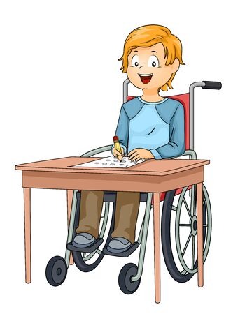 Kid Boy on Wheelchair Taking the School Examination Stock Photo
