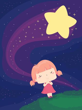 Kid Girl with Eyes Closed Wishing Earnestly on a Falling Star Outdoors Stockfoto