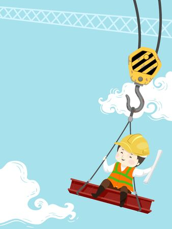 Kid Boy Wearing Yellow Hard Hat, Holding Building Plans, Sitting on a Red Iron Steel Carried by a Crane at the Construction Site