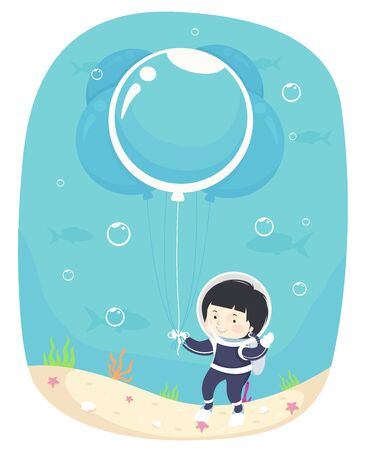 Kid Boy in Scuba Diving Gear Holding a Big Balloon Bubble Underwater Banque d'images - 129910402