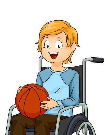 Kid Boy On Wheelchair Playing Basketball