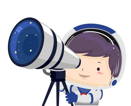 Kid Boy Astronaut Using a Telescope Looking Outer Space