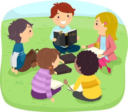 Kids Studying the Bible Outdoors