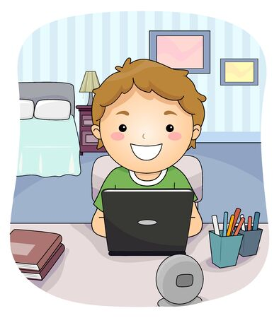 Kid Boy Using Laptop and Studying in His Bedroom