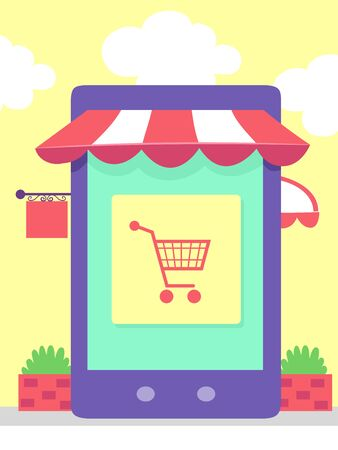 Mobile Phone with Shopping Cart on Screen and Store Banner and Awnings. Stock fotó