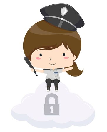 Kid Girl Wearing Security Guard Costume Holding a Baton Sitting on Top of a Cloud with Padlock