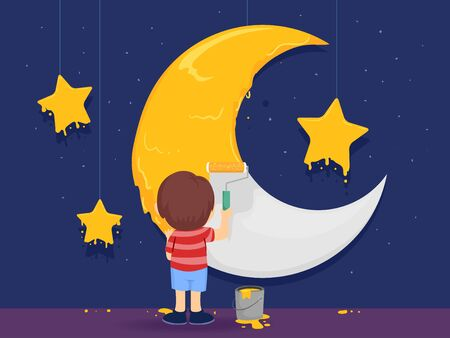 Kid Boy Painting the Moon and the Stars Yellow Against Blue Backdrop on Stage