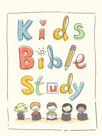 Kids Holding Bible with Kids Bible Study Lettering Above Stockfoto