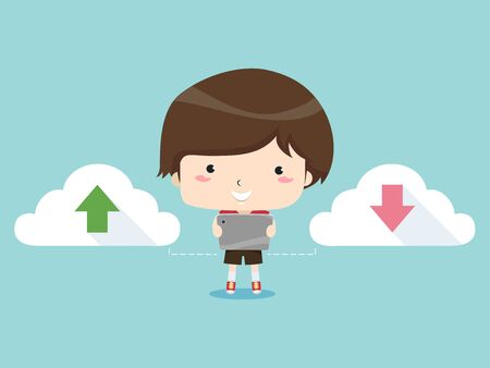 Kid Boy Holding a Tablet Computer Standing Between Two Clouds with Arrow Up and Down for Uploading and Downloading