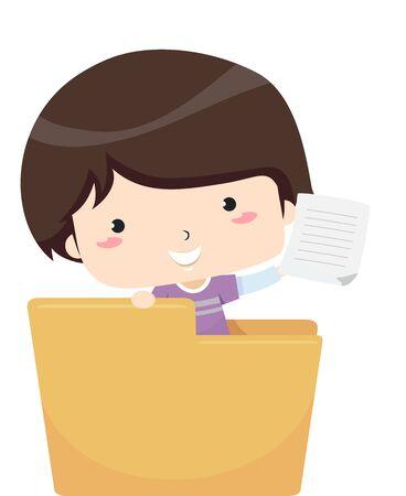 Kid Boy Showing a Document from Inside an Open Folder
