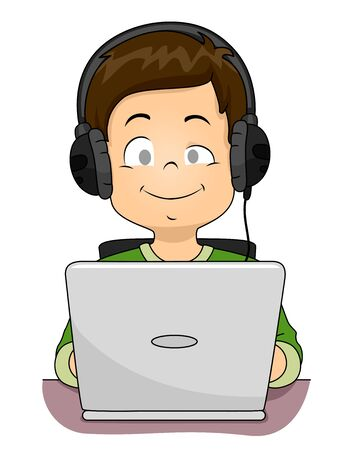 Illustration of a Blind Kid Boy Wearing Headphones and Using a Laptop