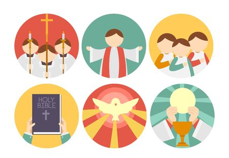 Different Parts of Mass Icons from the Gathering, Proclaiming the Word, Prayers, Peace and Eucharist Stockfoto