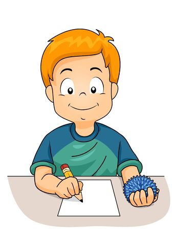 Kid Boy Writing on a Paper with Pencil on One Hand and Using a Fidget Toy on the Other Фото со стока