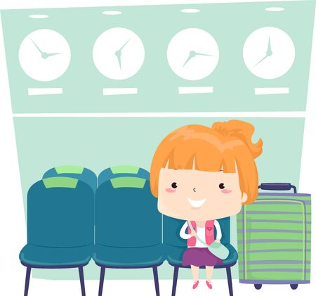 Kid Girl Sitting in the Waiting Area with Luggage Bag at the Airport Stock fotó