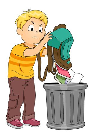 Kid Boy Throwing Books and Notebooks from His Backpack in the Trash Can