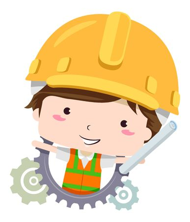 Kid Boy Wearing Yellow Hard Hat and Holding Building Plans with Cogwheels Behind