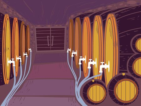 Illustration of Barrels of Wine in the Cellar with Faucets