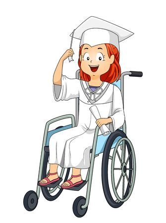 Kid Girl During Graduation Sitting on a Wheelchair