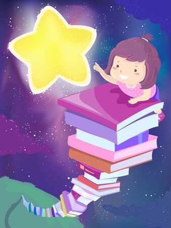 Kid Girl Climbing a Stack of Books Reaching for a Star Фото со стока