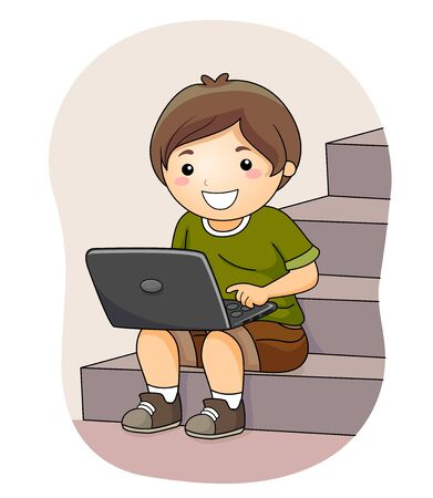 Kid Boy Using Laptop While Sitting on Stairs Banco de Imagens
