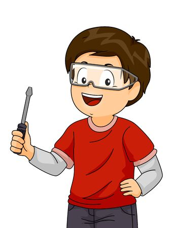 Kid Boy Wearing Goggles and Holding a Screwdriver During a Woodworking or Mechanical Workshop