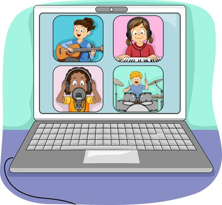 Laptop Showing Kids Jamming Online with One Playing the Guitar, Piano, Drums and the Other Singing