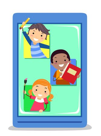 Kids Inside a Mobile App Holding a Pencil, Notebook and Paint Stock fotó